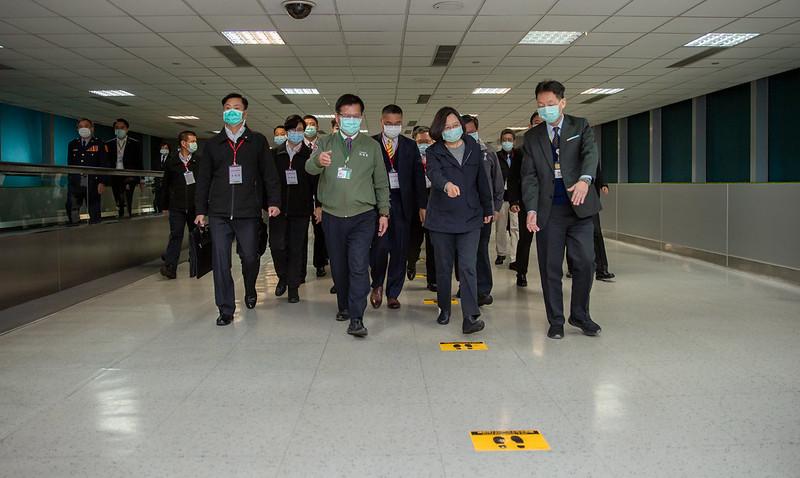 蔡英文總統視察桃園機場防疫措施