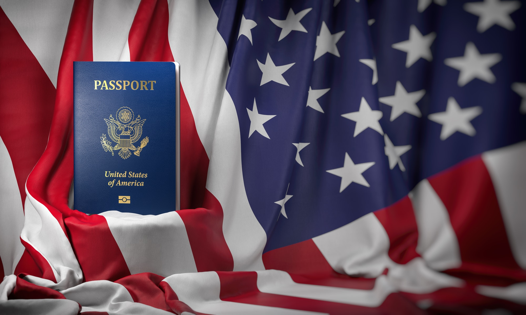 USA passport on the flag of the US United Stetes. Getting a USA