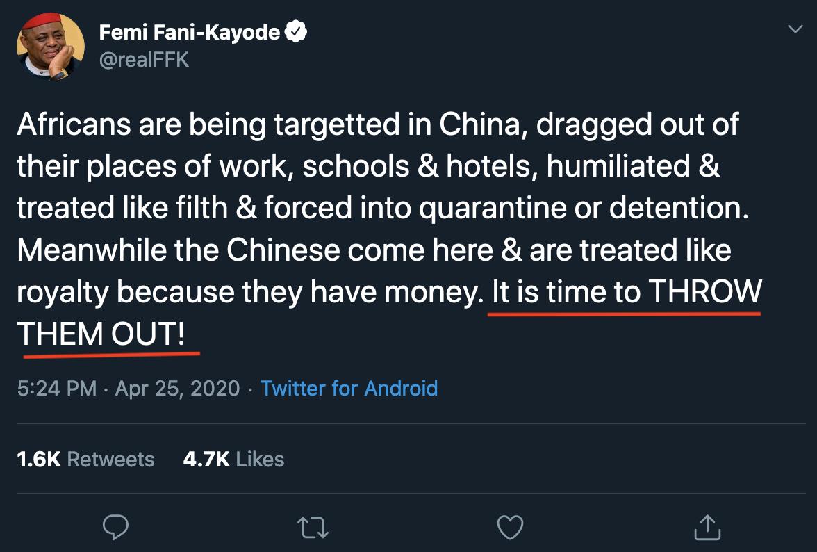 奈及利亞前航空部長法尼卡佑德(Femi Fani-Kayode)的推特