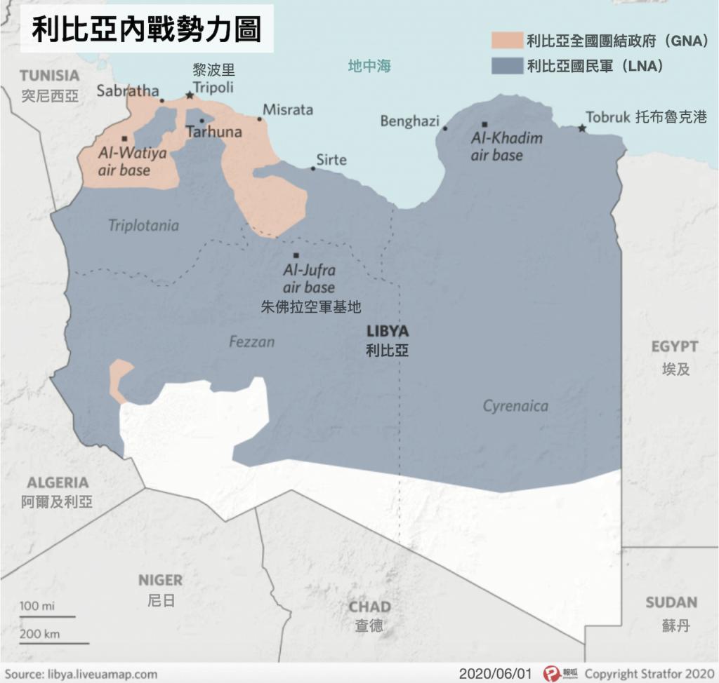 利比亞內戰勢力圖 2020-06-01(圖/Stratfor.報呱再製)