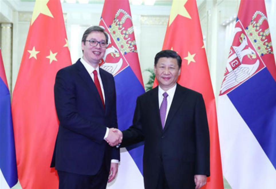 塞爾維亞總統武契奇(Aleksandar Vučić)、習近平(圖/中國外交部)