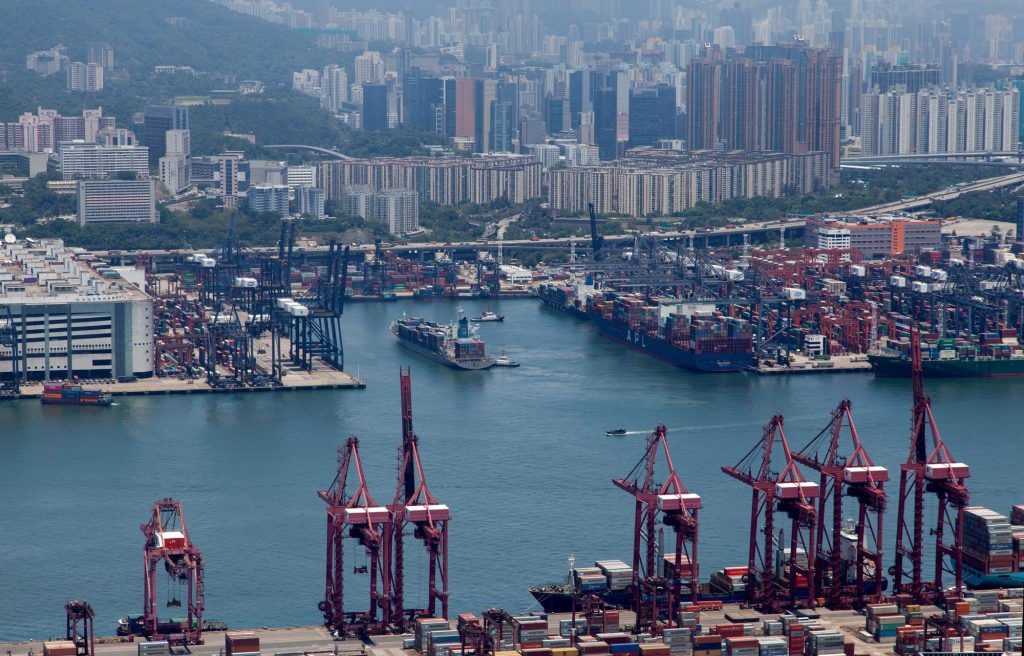 Container port Hong Kong overpass highway