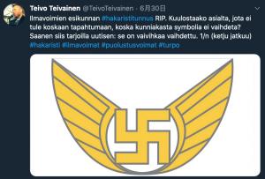 芬蘭空軍司令部原徽章中極具爭議性的「卐」記號(圖/Teivo Teivainen推特)