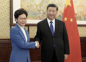林鄭月娥、習近平(圖/中國國務院新聞辦公室)