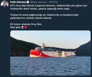 土耳其宣在東地中海展開天然氣鑽探活動(圖/土耳其能源部長唐梅茲(Fatih Dönmez)推特)