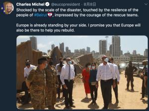 歐盟理事會主席米歇爾(Charles Michel)親自前往貝魯特表達歐盟與黎巴嫩的團結情誼(圖/米歇爾(Charles Michel))
