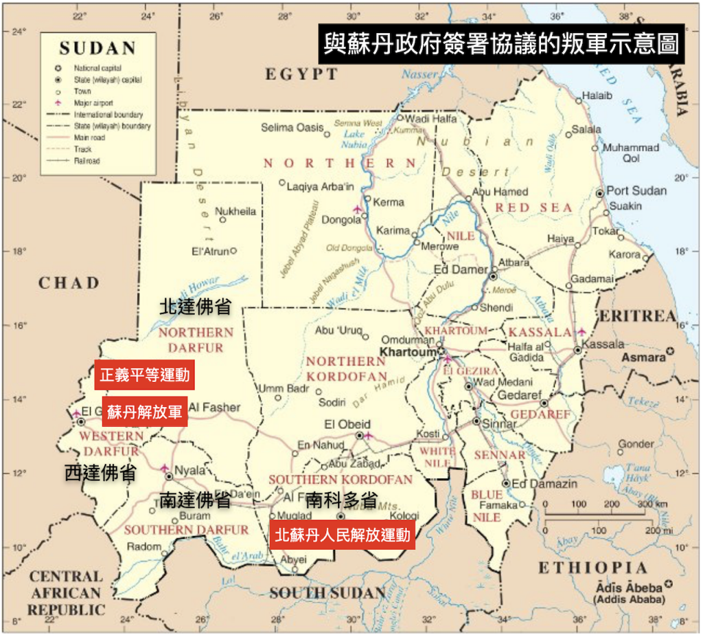 與蘇丹政府簽署協議的叛軍示意圖(地圖來源/Muhammad Daffa Rambe/CC BY-SA 3.0/報呱再製)