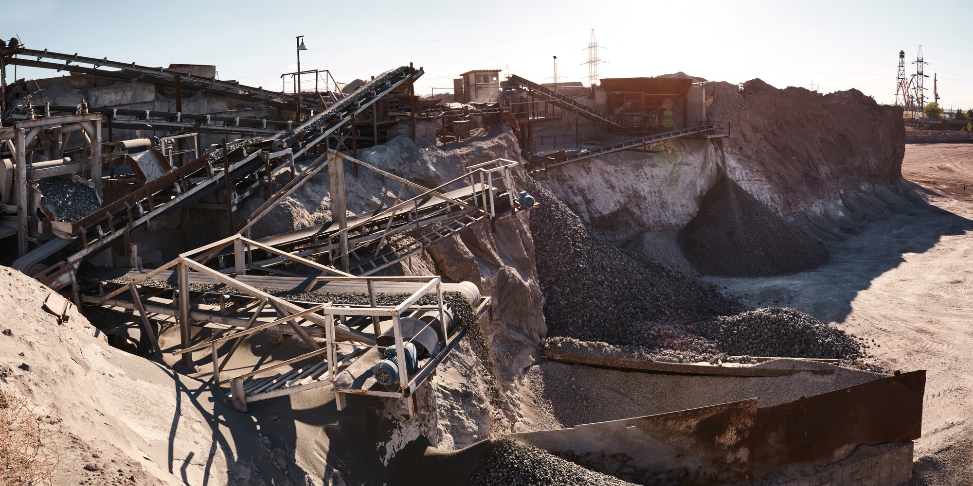 Crushing, grinding, sorting and transportation lines on slag dump