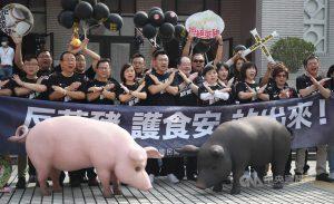國民黨主席江啟臣(前左5)、國民黨祕書長李乾龍(前左6)、立法院黨團總召林為洲(前右)及多名黨籍立委身穿黑色T恤,呼籲全民1122共同站出來參與遊行,「反萊豬、護食安」。