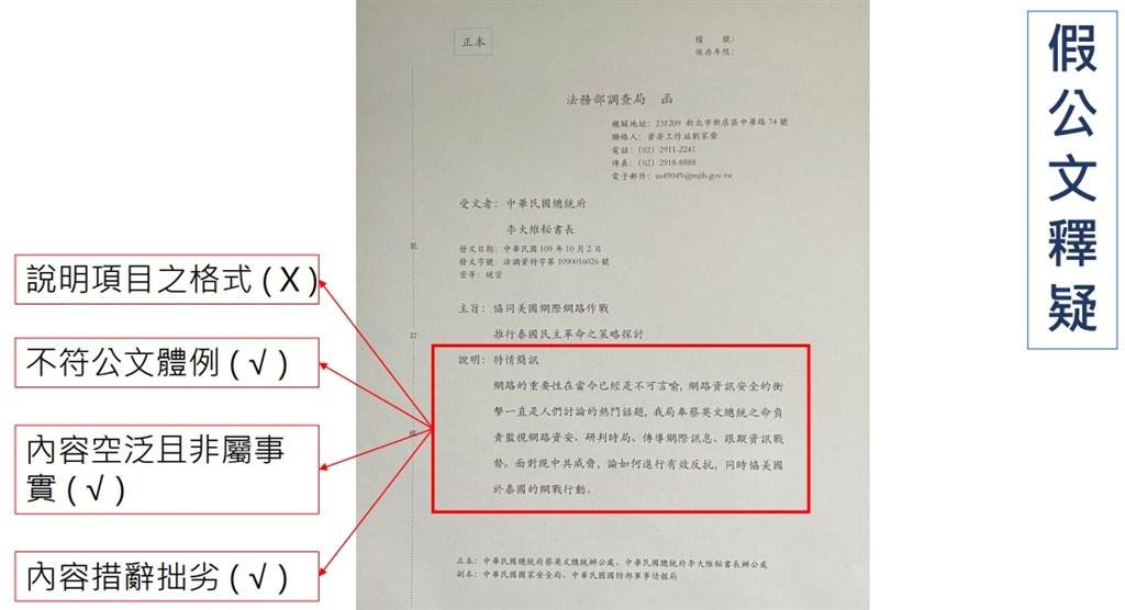 資安站副主任劉家榮說,公文體例與調查局的不同,且內容空泛、措辭拙劣,顯見中國已擴大假訊息認知作戰。(調查局提供)
