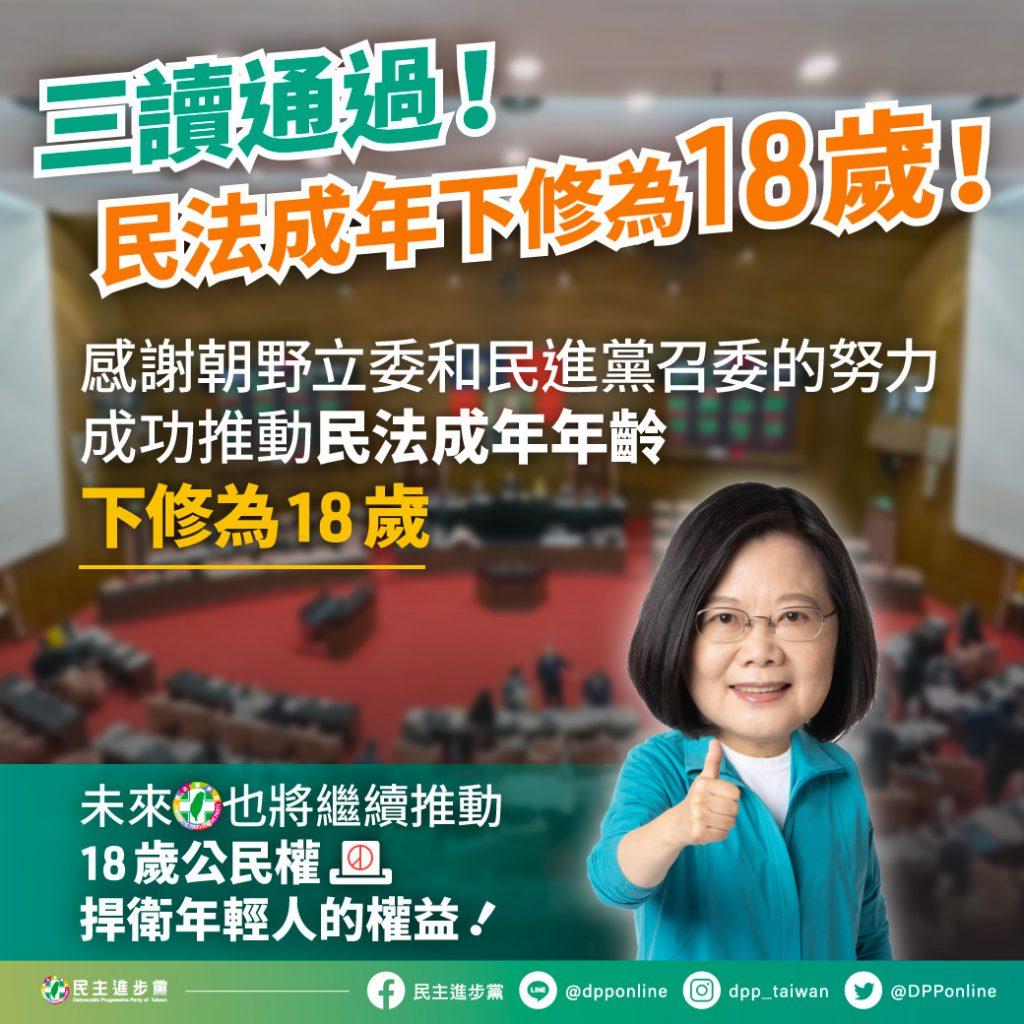 民法成年下修為 18 歲,民進黨表示往後將繼續推動 18 歲公民權。