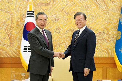 王毅、中國、文在寅、韓國(圖/中國外交部)