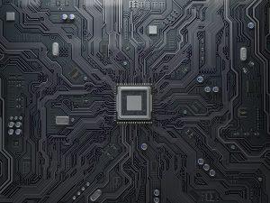 CPU chip on circuit board.