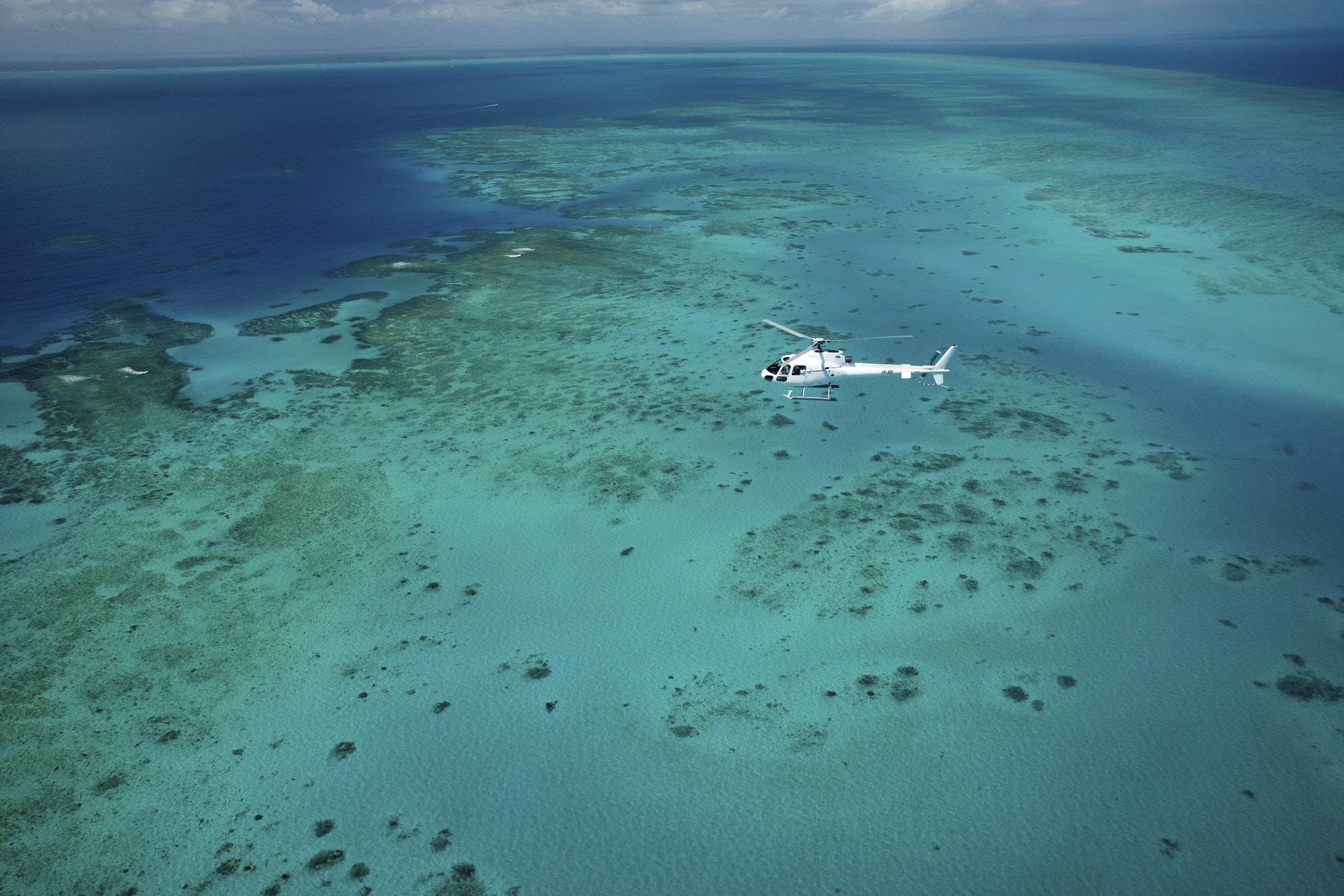 Helicopter tour over parts of the Great Barrier Reef,Aerial tour of Great Barrier reef.