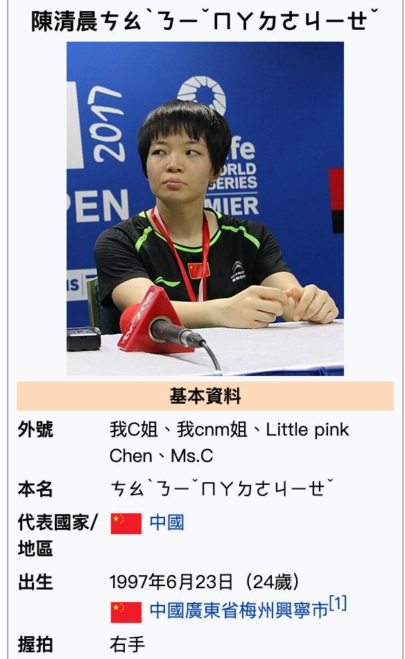 中國選手陳清晨居然在奧運比賽場上飆罵髒話,維基百科上也遭網友惡搞,以注音的方式諷刺陳清晨是:「操你他媽的姐」。 (圖/擷取自維基百科)