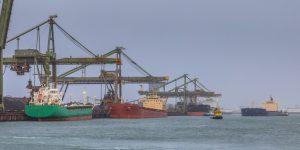 Nautical bulk carrier ships in harbour