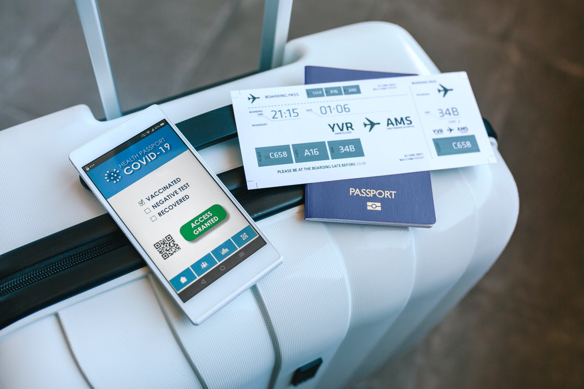 Suitcase with passport, boarding pass and covid passport