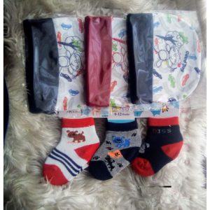 This is an image for this product - Fashion 6PACK Newborn Baby 3Cotton Caps+ 3Pair Baby Socks - Jumia Kenya. This product is available for purchase from Jumia Kenya and is sold by Bold Collection.