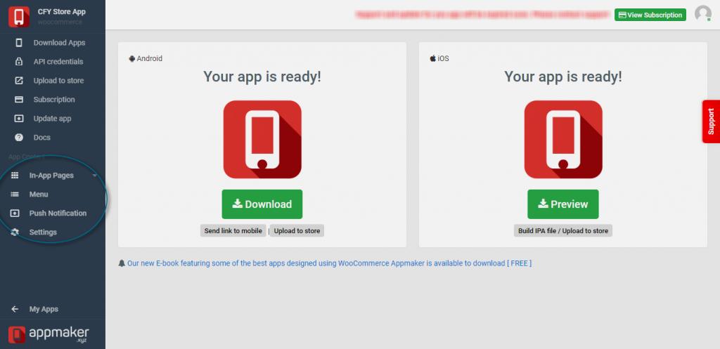WooCommerce app dashboard