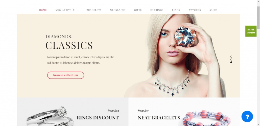 Nitro jewelry eCommerce WordPress theme