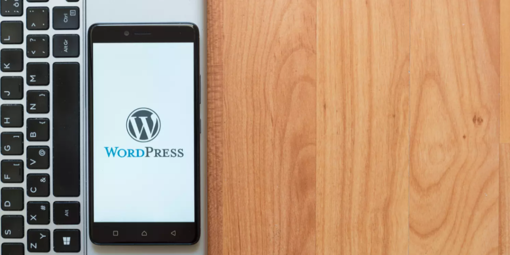 Image of a phone with a wordpress logo on the screen