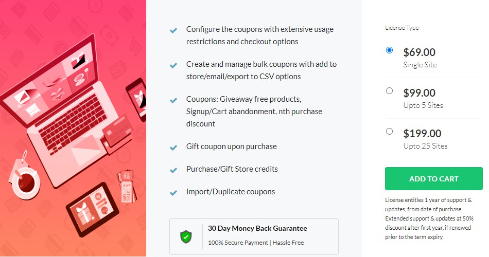 Picture showing the pricing plan of Smart Coupon by Webtoffee