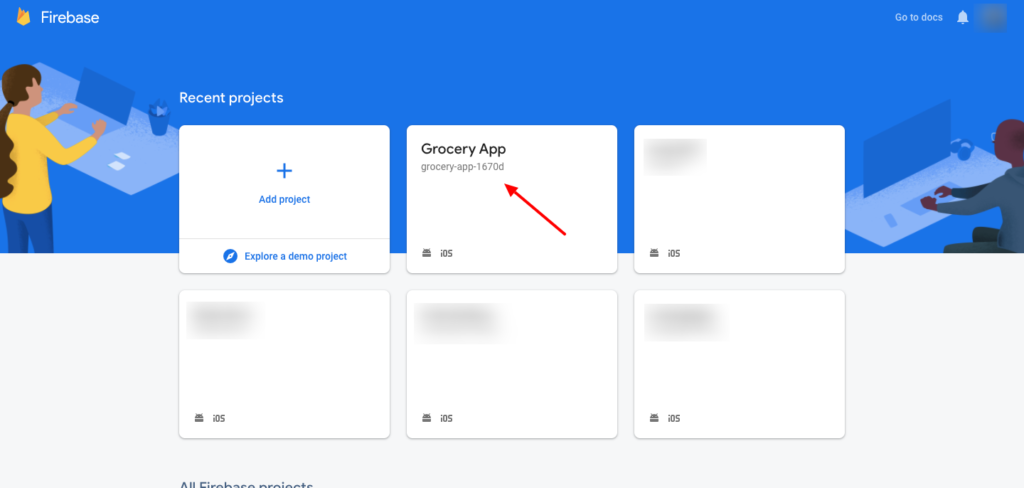Google Firebase project tabs