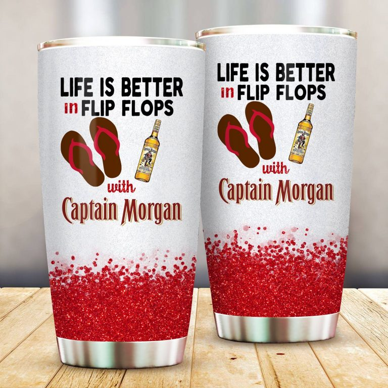 Life is better in flip flops with Captain Morgan Funny Glitter Coffee Wine Mugs Gift Ideas Tumbler Cup SweatShirt