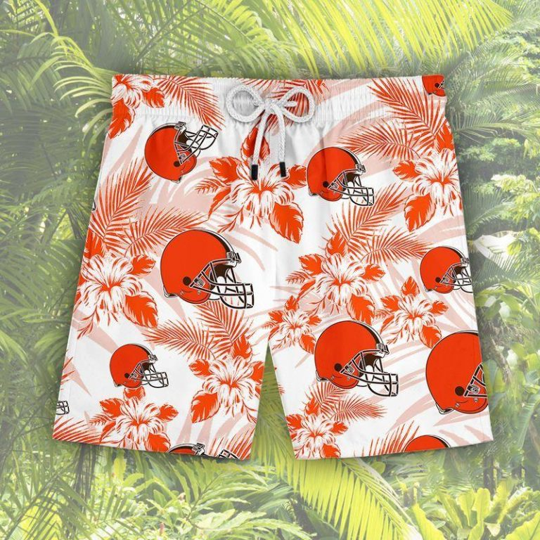 Cleveland Browns Summer Outfit Hawaii Aloha Hawaiian shirts Men Women Beach shorts LongSleeve Tshirt