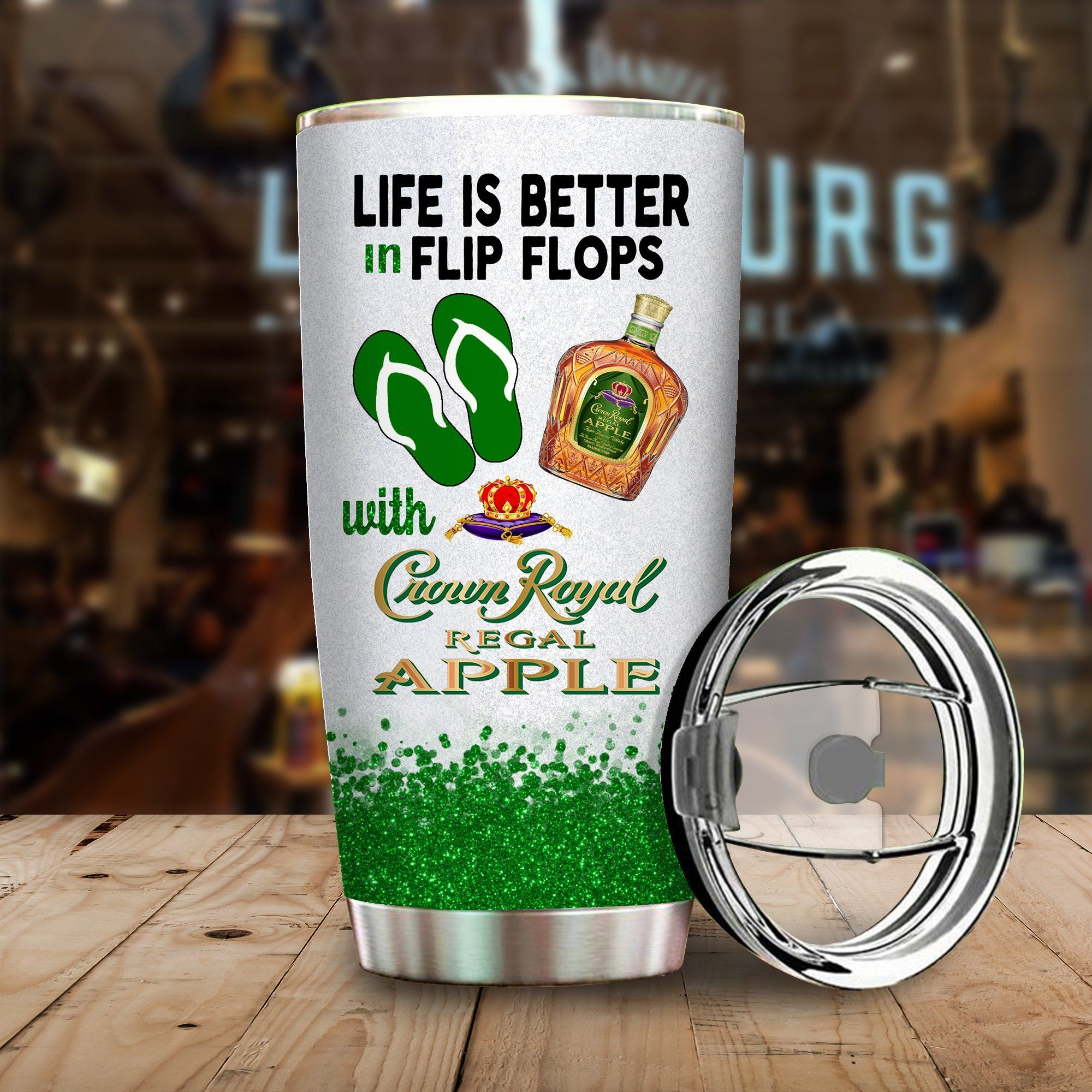 Life is better in flip flops with Crown Royal Apple Funny Glitter Coffee Wine Mugs Gift Ideas Tumbler Cup Unisex Tshirt