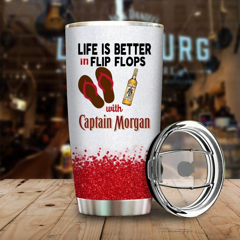 Life is better in flip flops with Captain Morgan Funny Glitter Coffee Wine Mugs Gift Ideas Tumbler Cup Unisex Tshirt