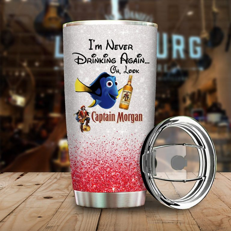 Dory Fish I'm never drinking again Oh look Captain Morgan Funny Glitter Coffee Wine Mugs Gift Ideas Tumbler Cup Unisex Tshirt