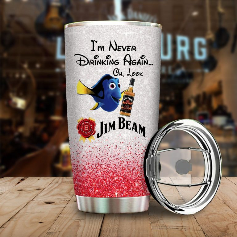 Dory Fish I'm never drinking again Oh look Jim Beam Funny Glitter Coffee Wine Mugs Gift Ideas Tumbler Cup Unisex Tshirt