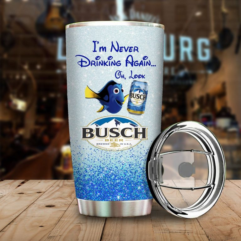 Dory Fish I'm never drinking again Oh look Busch Funny Glitter Coffee Wine Mugs Gift Ideas Tumbler Cup Unisex Tshirt