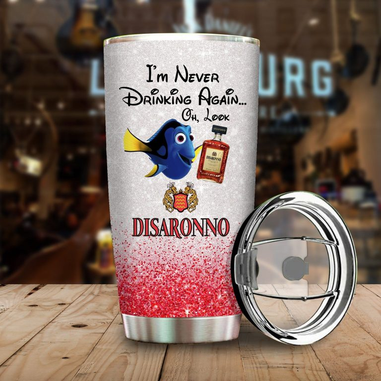 Dory Fish I'm never drinking again Oh look Disaronno Funny Glitter Coffee Wine Mugs Gift Ideas Tumbler Cup Unisex Tshirt