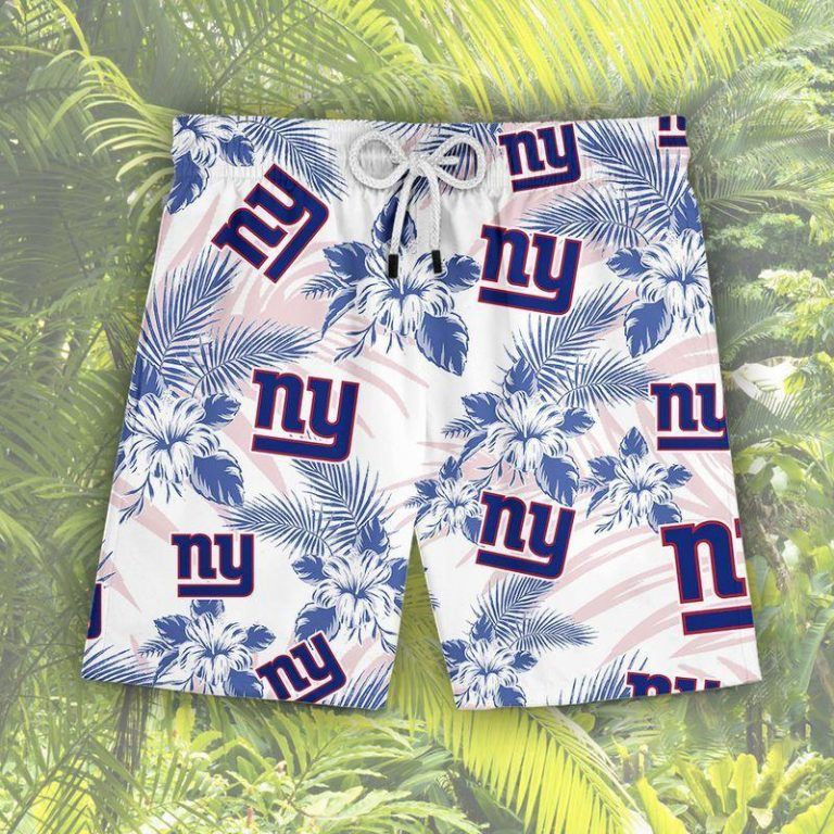 New York Giants Summer Outfit Hawaii Aloha Hawaiian shirts Men Women Beach shorts LongSleeve Tshirt