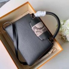 Taurillon Leather Capucines Bb/pm Top Handle Bag With Python Stripe Black N94220 2020 Collection