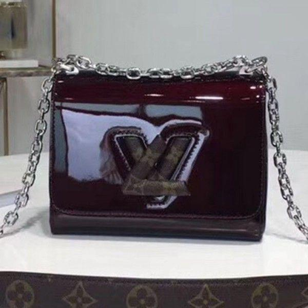 Twist Pm Shoulder Bag In Patent Leather And Monogram Print Dark Burgundy 2019 Collection