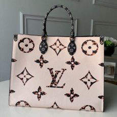Animal Print Giant Monogram Onthego Tote Bag M44674 White/orange 2019 Collection