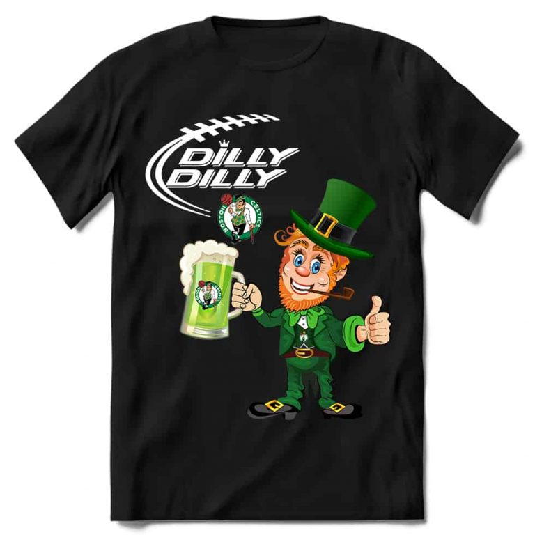 Boston Celtics T shirt Fans Dilly Dilly St Patricks Day Cheerful Leprechaun With Mug of Green Beer