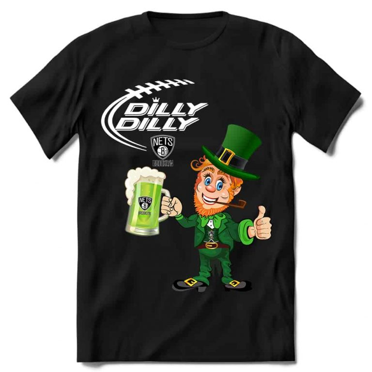 Brooklyn Nets T shirt Fans Dilly Dilly St Patricks Day Cheerful Leprechaun With Mug of Green Beer