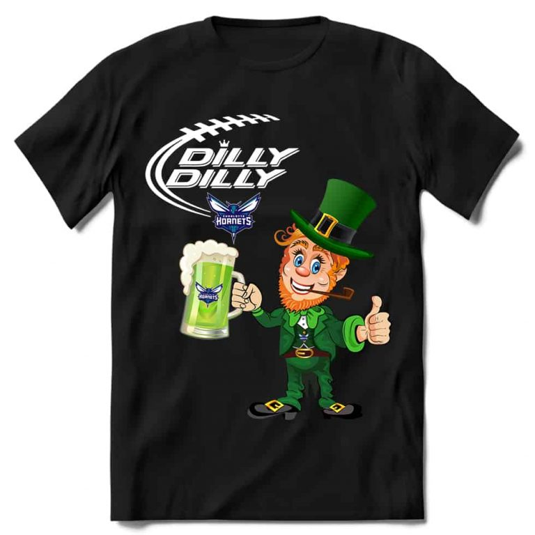 Charlotte Hornets T shirt Fans Dilly Dilly St Patricks Day Cheerful Leprechaun With Mug of Green Beer