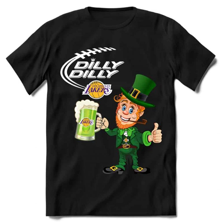 Los Angeles Lakers T shirt Fans Dilly Dilly St Patricks Day Cheerful Leprechaun With Mug of Green Beer
