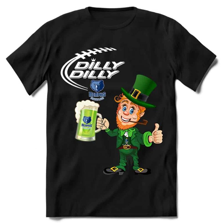 Memphis Grizzlies T shirt Fans Dilly Dilly St Patricks Day Cheerful Leprechaun With Mug of Green Beer