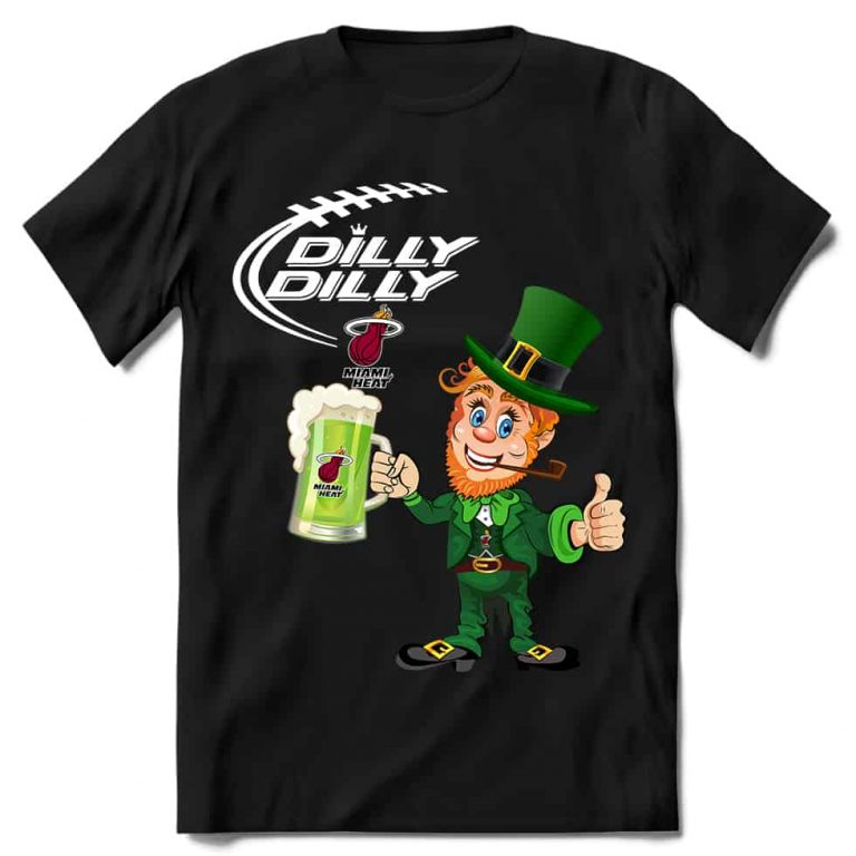 Miami Heat Basketball T shirt Fans Dilly Dilly St Patricks Day Cheerful Leprechaun With Mug of Green Beer