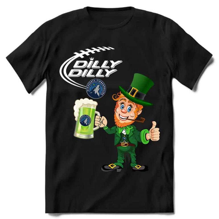 Minnesota Timberwolves T shirt Fans Dilly Dilly St Patricks Day Cheerful Leprechaun With Mug of Green Beer