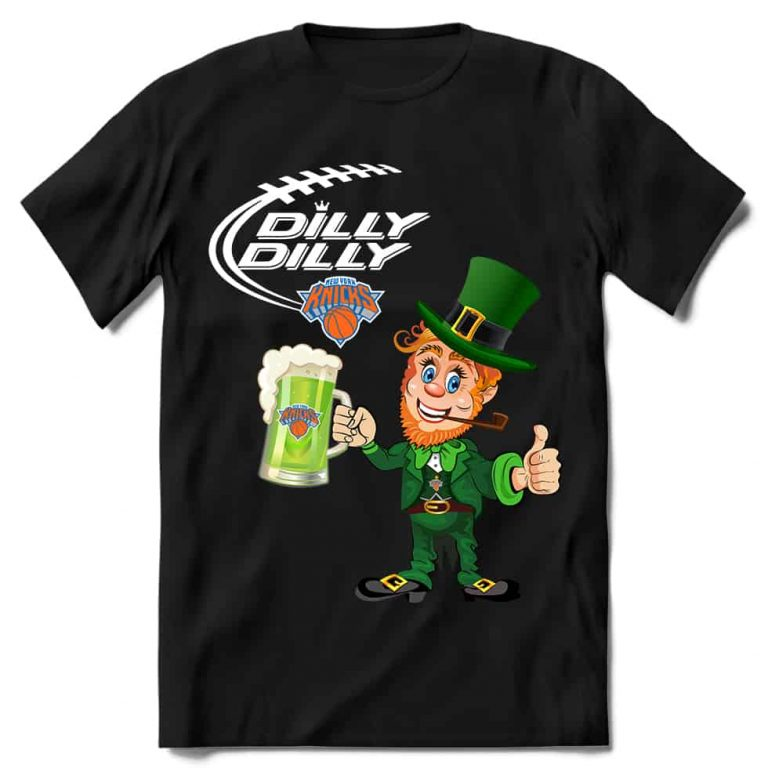 New York Knicks T shirt Fans Dilly Dilly St Patricks Day Cheerful Leprechaun With Mug of Green Beer