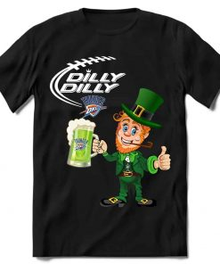 Oklahoma City Thunder T shirt Fans Dilly Dilly St Patricks Day Cheerful Leprechaun With Mug of Green Beer