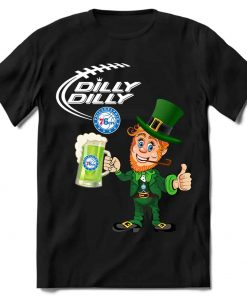 Philadelphia 76ers T shirt Fans Dilly Dilly St Patricks Day Cheerful Leprechaun With Mug of Green Beer