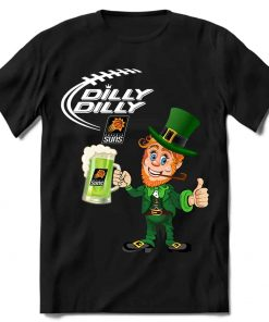 Phoenix Suns T shirt Fans Dilly Dilly St Patricks Day Cheerful Leprechaun With Mug of Green Beer